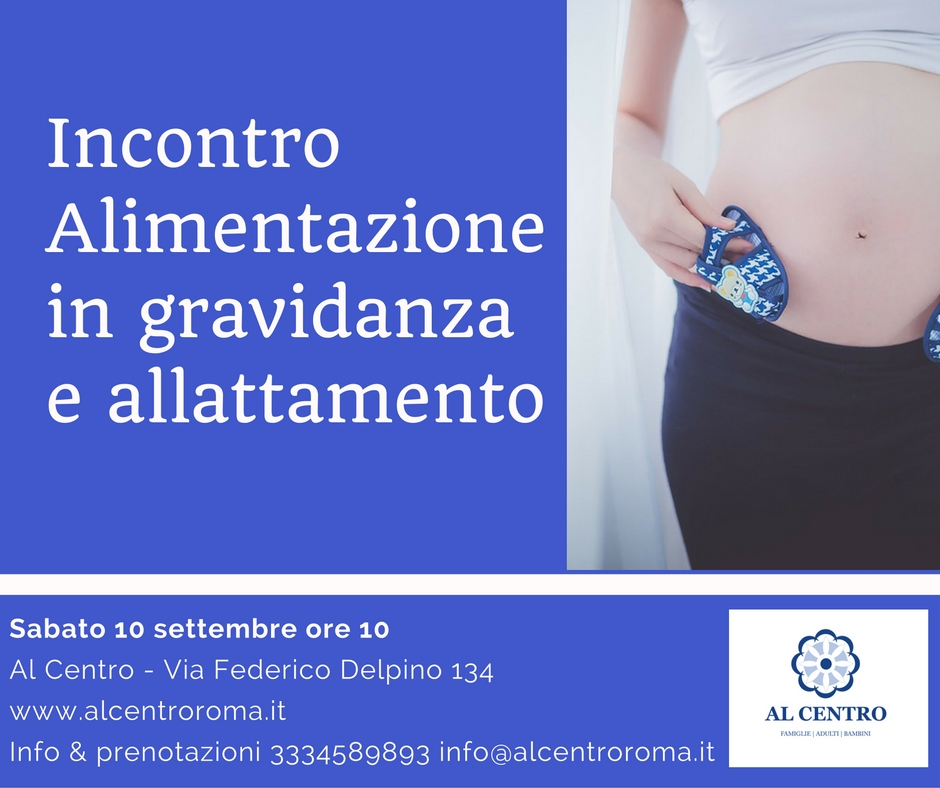 Locandina incontro Alimentazione in gravidanza