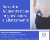 Locandina dell'incontro su Alimentazione in gravidanza
