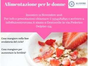 """Locandina """"alimentazione per le donne"""" 2016"""