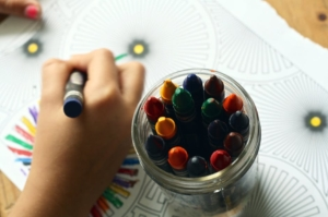 disegno colorato e pastelli