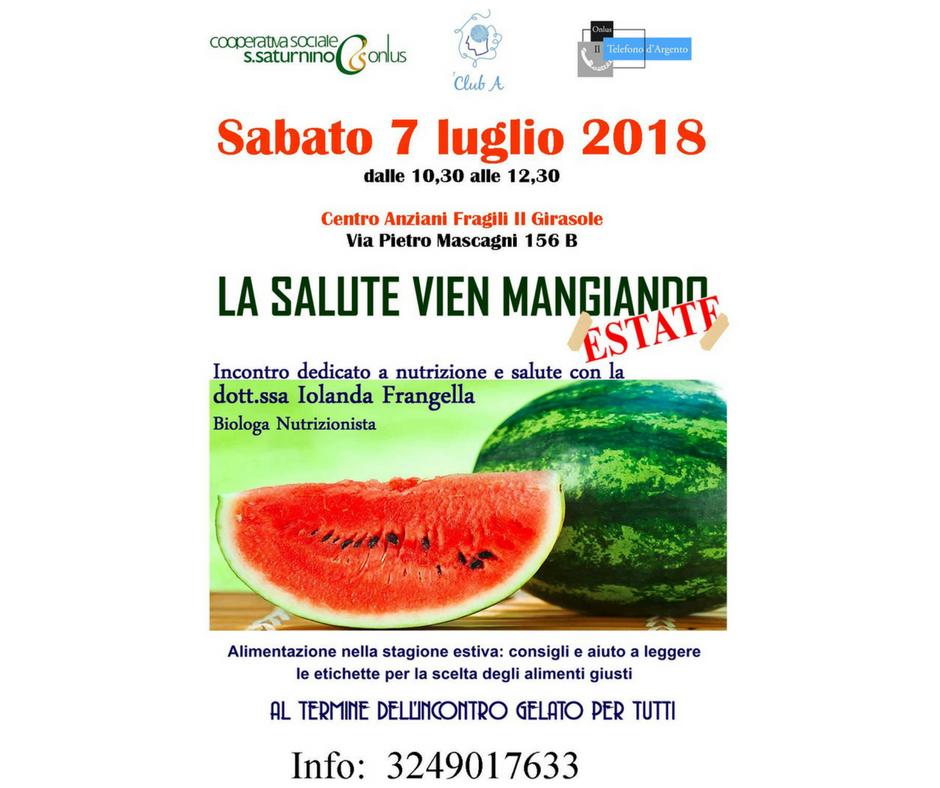 """Locandina di """"la salute vien mangiando"""" 2018"""